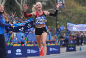 Shalane Flanagan winning the 2017 TCS New York City Marathon